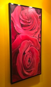 """""""Wedding Roses"""" Oil on Canvas 24"""" x 48"""" . Black Box Frame included"""