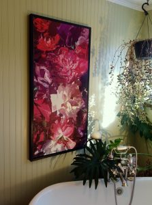 """Shades of Purple"" Oil on Canvas 24"" x 48"": $1,200.00. Simple Black Box Frame included"